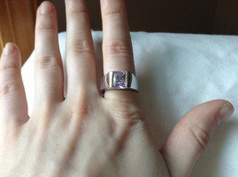 Light Purple CZ Stone Stainless Steel Ring Size 9  image 6