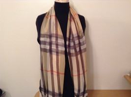 Light Tan Black Red Plaid Scarf 100 Percent Polyester NEW image 2