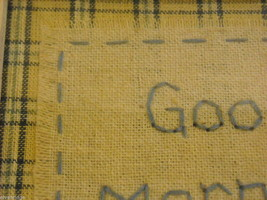 New primitive embroidered framed stitchery Good Morning Sunshine image 6