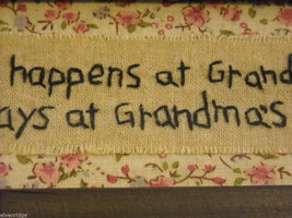 New primitive embroidered framed What happens at Grandma's house stays at image 4