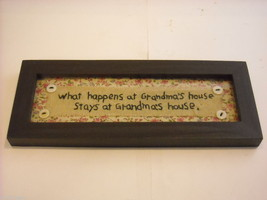 New primitive embroidered framed What happens at Grandma's house stays at image 2