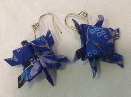 New w tags origami  blue and gold gilt  turtle earrings w gold wires washi paper image 3