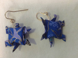 New w tags origami  blue and gold gilt  turtle earrings w gold wires washi paper image 2