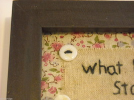 New primitive embroidered framed What happens at Grandma's house stays at image 5
