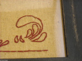 New primitive embroidered framed stitchery Always kiss me goodnight image 8