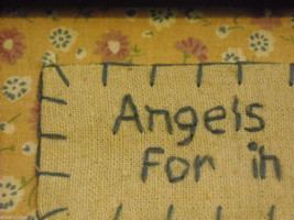 New primitive embroidered framed stitchery Angels in my life I have You image 2