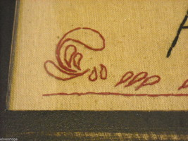 New primitive embroidered framed stitchery Always kiss me goodnight image 9