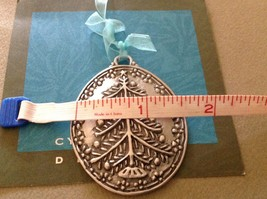New small Pewter hand made Christmas tree hanging wall ornament made in USA image 4