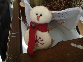 New puffy white snowman ornament with stitched snowflake scarf and stick arms image 4