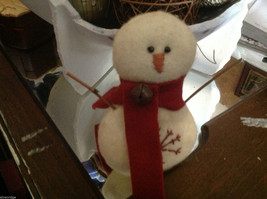 New puffy white snowman ornament with stitched snowflake scarf and stick arms image 5