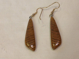 New w tags natural blonde and medium wood grained earrings long dangle image 4