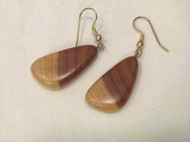 New w tags natural blonde and medium wood grained earrings image 3