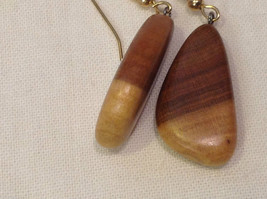 New w tags natural blonde and medium wood grained earrings image 4