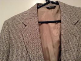 Norm Thompson Size 38R Beige Blue Plaid Suit Jacket Blazer Two Button Closure image 2