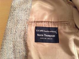 Norm Thompson Size 38R Beige Blue Plaid Suit Jacket Blazer Two Button Closure image 8
