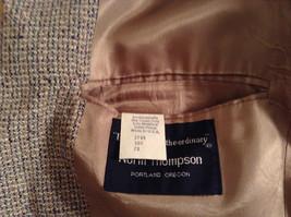 Norm Thompson Size 38R Beige Blue Plaid Suit Jacket Blazer Two Button Closure image 9
