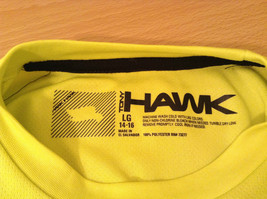 Lime Yellow Short Sleeve 100 Percent Polyester Shirt Hawk Size L 14 to 16 image 9