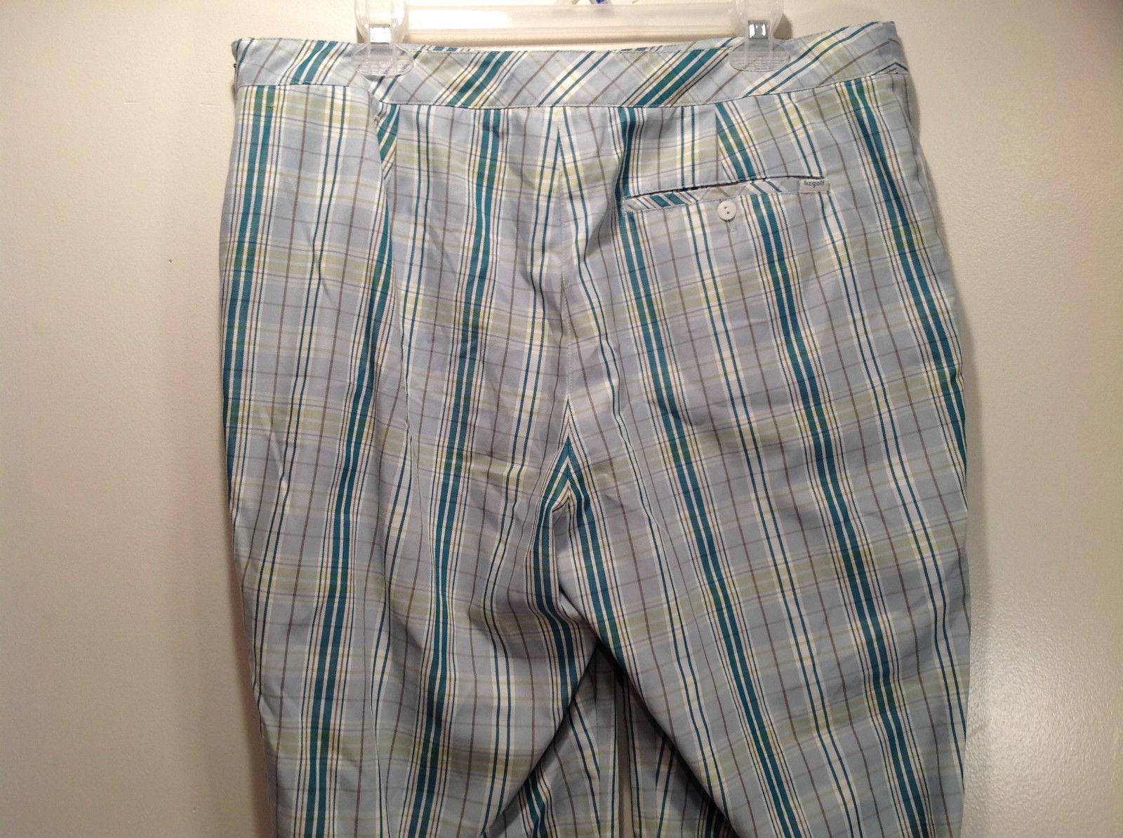 Liz Golf Audra Size 16 Light Blue Green Plaid Casual Pants