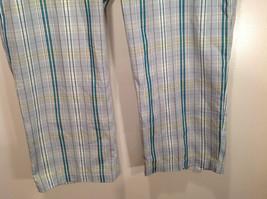Liz Golf Audra Size 16 Light Blue Green Plaid Casual Pants image 4