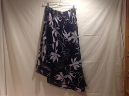 Long Asymmetrical Bottom Print Skirt Black White Floral Double Layered, Size 10 image 2