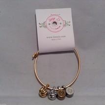 Lizzy J bullet charm bracelet, shiny gold silver vintage gold and silver image 4