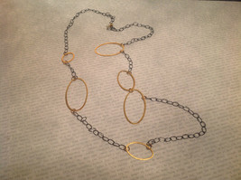 Long Multi Oval Necklace Gold w Black Oxide Silver Chain Handmade Zina Kao image 3