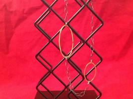 Long Multi Oval Necklace Gold w Black Oxide Silver Chain Handmade Zina Kao image 5