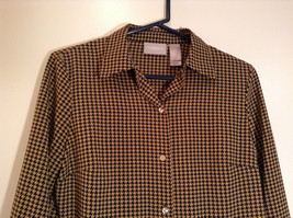 Long Sleeve Brown Black Pattern Size 8 Button Up Front Shirt Liz Claiborne image 2