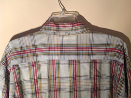 Long Sleeve Button Up Collared DOCKERS Shirt Plaid Red Green Yellow Blue Size M image 10