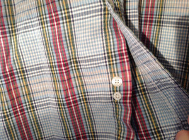 Long Sleeve Button Up Collared DOCKERS Shirt Plaid Red Green Yellow Blue Size M image 7