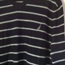 Long Sleeve Nautica Black and White Striped V Neck Sweater Size Large image 2