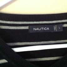 Long Sleeve Nautica Black and White Striped V Neck Sweater Size Large image 3