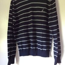 Long Sleeve Nautica Black and White Striped V Neck Sweater Size Large image 4