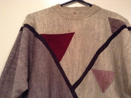Long Sleeve Gray Sweater Natural Leather Decorations Leena Lehtinen No Size Tag image 2