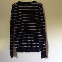 Long Sleeve Nautica Black and White Striped V Neck Sweater Size Large image 5