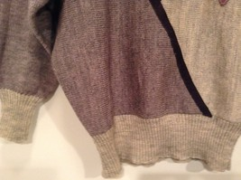 Long Sleeve Gray Sweater Natural Leather Decorations Leena Lehtinen No Size Tag image 3