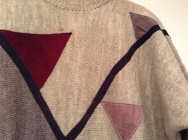 Long Sleeve Gray Sweater Natural Leather Decorations Leena Lehtinen No Size Tag image 4