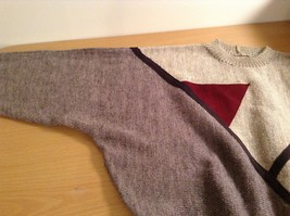 Long Sleeve Gray Sweater Natural Leather Decorations Leena Lehtinen No Size Tag image 10
