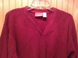 Long Sleeve Red Cardigan Sweater Button Down Liz Claiborne V Neck Size Medium image 4