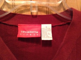 Long Sleeve Red Cardigan Sweater Button Down Liz Claiborne V Neck Size Medium image 3