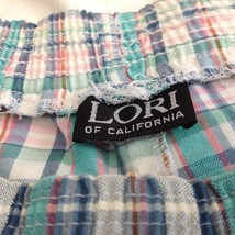 Lori of California Plaid Casual Pants White Blue Green Pink Elastic Waistband image 3