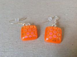 Orange Violet Polka Dot Pattern Square Shaped Glass Dangling Earrings image 2