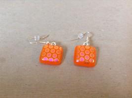 Orange Violet Polka Dot Pattern Square Shaped Glass Dangling Earrings image 3
