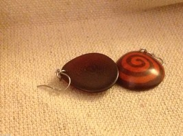Orange batik pattern sustainable renewable Tagua earrings women's work Columbia image 4