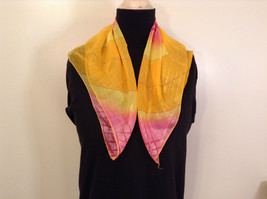 Orange Yellow and Pink Square Scarf 100 Percent Polyester image 2