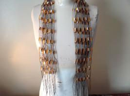 Orange and Brown Filigree Scarf Headband Belt Three in One image 2
