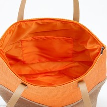 Orange color Block tote Summer with Jute  image 3