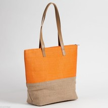 Orange color Block tote Summer with Jute  image 2