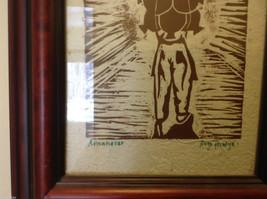 Original Guatemalan wood block print signed Country Laborer Amanecar image 3