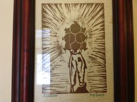 Original Guatemalan wood block print signed Country Laborer Amanecar image 2